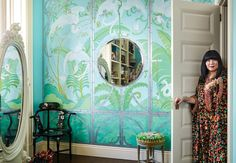 A hand painted mural brings the tropics to NYC in the striking apartment of designer Anna Sui. Living Room Designs, Living Room Decor, David Hicks, Art Deco Rugs, New York City Apartment, The Doors, Greenwich Village, Anna Sui, Build Your Dream Home