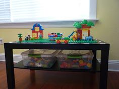 I can do with with the lid to his train table. So it will be a train table without the kid and a Lego table when the lid is on it. Lego Duplo Table, Ikea Lack Coffee Table, Loft Playroom, Ikea Nursery, Lego Pieces, Diy Table, Kids Decor, Legos, Kids Toys
