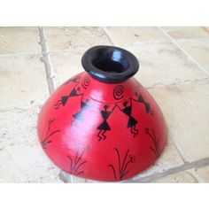 Red Handmade Hand Painted Terracotta Vase with Warli Art Pottery Painting Designs, Pottery Designs, Paint Designs, Worli Painting, Bottle Painting, Painted Clay Pots, Hand Painted Rocks, Wine Bottle Art, Glass Bottle