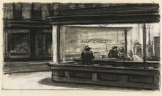Learning a lesson from Rembrandt, Hopper integrates light into the structure of the image. The long, gently sloping lines are formed by the architecture picking up slivers of light to create an intensely powerful and silent mood.