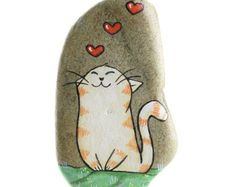 Handpainted rock to hang with a cat