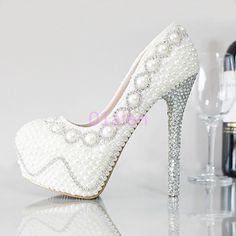 Womens Super High Heel Handmade Rhinestones Bead Pearls Wedding Bridal Shoes