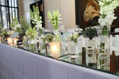 Flower Design Events: Spring Reflections Top Table at Samlesbury Hall