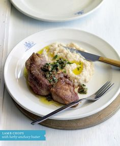 Lamb chops with anchovy sauce and bean puree