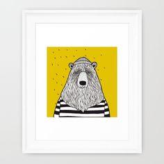 sailor bear  society6.com/MiraMallius Framed Art Prints, Drawing Ideas, Sailor, Bear, Graphic Design, Drawings, Illustration, Cards, T Shirts