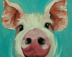 Pig painting 233 20x20 inch original oil painting by Roz by RozArt