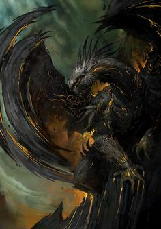 Concept art of dragon for Guild Wars 2 by Kekai Kotaki
