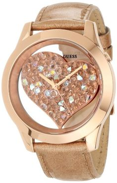 GUESS U0113L3 Rose Gold-Tone Crystal Heart Watch:Amazon:Watches