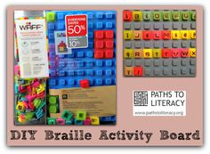 This parent-made DIY Braille Activity Board is a great way to practice letter identification and building words. Help Teaching, Teaching Tools, Visually Impaired Activities, Braille Reader, Children Reading, Visual Impairment, Letter Identification, Word Building, Activity Board