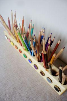 Montessori wood pencil holder color sorting by MazaisMeistars