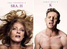 """""""Ninfomaníaca"""": posters de Uma Thurman e Jamie Bell."""