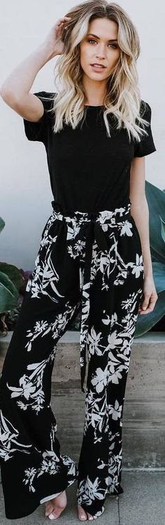 #spring #outfits black top, flower pattern black wide leg pants