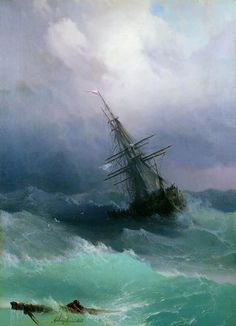 """In a picture that makes it hard visualize that old Coast Guard saying """"don't bring a victim to the accident"""" a ship's boat crew launches in a Tempest to save a shipmate adrift on a piece of the ship's broken rigging."""