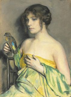 Woman with a Parrot - William Sergeant Kendall (American Painter, 1869-1938)