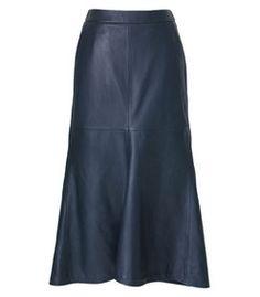 Tibi: Leather Fluted Skirt
