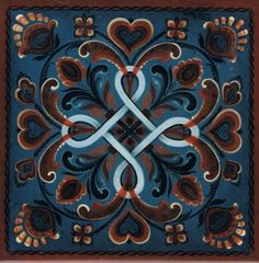 "Norwegian Trivet Tile ""Hordaland Rosemaling"" by Gayle Oram, 6"" X 6"" Cork Backing"