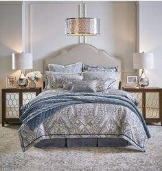 Croscill Seren 4-Pc. Chenille Damask Jacquard California King Comforter Set Bedding. #bluebedding #croscillbedding #croscill #afflnk