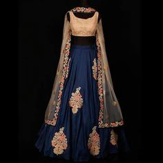 royal colour in elegent look Raw Silk Lehenga, Lehenga Choli, Anarkali, Sarees, Blue Lehenga, Lehenga Blouse, Sabyasachi, Indian Attire, Indian Ethnic Wear