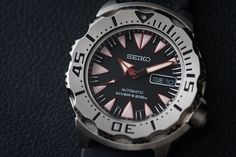 "Seiko New Black Monster ""Dracula"" Dive Watch--the monster line has been known as one of the absolute best values for a real automatic diver since it was introduced, and now the new improved 4r36 movement (from the 7s36 old) offers more accuracy, hand winding, and hacking."
