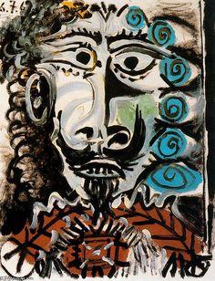 """""""男性5頭"""", オイル バイ Pablo Picasso (1881-1973, France)"""