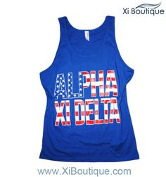 Only 2 sizes left!! Alpha Xi Delta America Tank