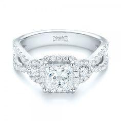Custom Three Stone Diamond Halo Engagement Ring | Joseph Jewelry | Bellevue | Seattle