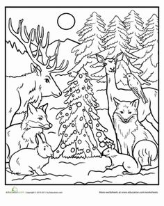 The forest animals have come out to play this Christmas. This coloring page is a fanciful idea for any animal-loving kid to color in.