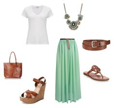 Mint Maxi Skirt ensemble by dannyzoe on Polyvore featuring James Perse, Tory Burch, Schutz, Topshop, Bar III and Uniqlo