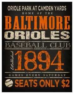 Baltimore Orioles Print - 11x14 - Oriole Park at Camden Yards Poster