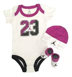 a883a9468eea Amazon.com  Nike Michael Jordan Infant Layette 3 Pcs Sets Bodysuit Cap and  Booties  Baby