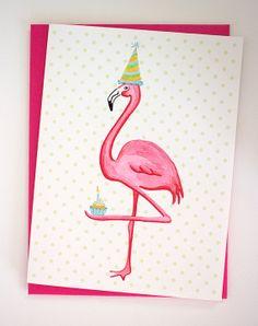Birthday Greeting card, Pink Flamingo who I love cupcakes and polka dots