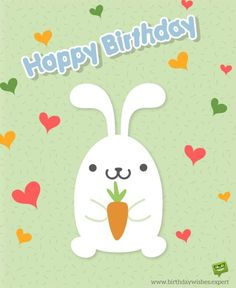 Wish for 1st birthday with cute bunny and hearts