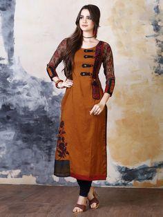 Shop Silk orange simple kurti online from India. Salwar Designs, Kurti Neck Designs, Kurti Designs Party Wear, Designer Kurtis, Designer Dresses, Simple Indian Suits, Kurtha Designs, Party Wear Kurtis, Kurti Patterns