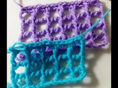 CROCHE TUNISIANO.PONTO GRADE OU TELA TUTORIAL Marly Thibes - YouTube