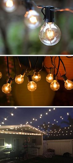 Globe String Lights | Easy Garden Ideas on a Budget | Budget Friendly Backyard Lighting Ideas for a Party