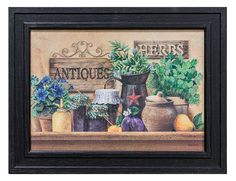 """""""Antiques and Herbs""""By Ed Wargo, Printed Wall Art, Ready To Hang Framed Poster, Black Frame (Beach), Trendy Decor Framed Art Prints, Wall Art Prints, Poster Prints, Posters, Black Framed Art, Framed Wall Art, Photo Wall Decor, Vintage Picture Frames, Print Pictures"""