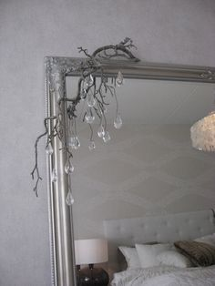 White, gray and brown bedroom, silver frame mirror Silver Framed Mirror, Brown And Grey, Gray, Oversized Mirror, Bedroom, Furniture, Home Decor, Decoration Home, Room Decor