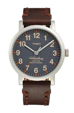 Timex® 'Waterbury' Leather Strap Watch, 40mm