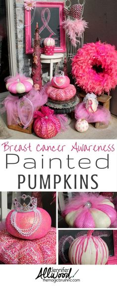 Pink Pumpkin Fall Decor for Breast Cancer Awareness Month