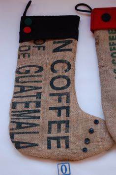 Burlap Stocking Upcycle coffee bag stockings by suitablebags- make one for Lizzie, line it though