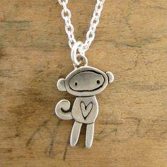 Tiny Sock Monkey Necklace