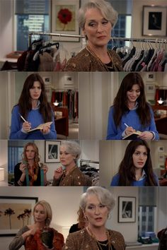 Miranda Priestly: Something funny?   Andy Sachs: No, no, nothing. Y'know, it's just that both those belts look exactly the same to me. Y'know, I'm still learning about all this stuff.   Miranda Priestly: This… 'stuff'? Oh… ok. I see, you think this has nothing to do with you. You go to your closet and you select out, oh I don't know, that lumpy blue sweater, for instance, because you're trying to tell the world that you take yourself too seriously to care about what you put on your back. But…