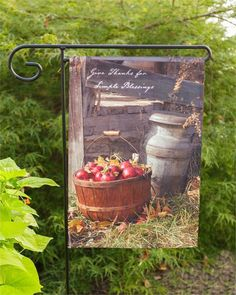 New Primitive Country GIVE THANKS SIMPLE BLESSINGS Apple Milk Can GARDEN FLAG #YHD
