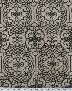 12.33 ft-Katy Graphite  Rustic, burlap/linen-look fabric in natural featuring tribal medallion designs in gray flocked velvet. Perfect for couch and chair upholstery, headboards, benches, heavy drapes, pillows, and more. Soft-medium drape.