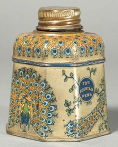 Signet Peacock Blue Ink Tin. Mfg. of LePage's Glue. Some very slight age discoloration. 3 inches tall