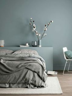 Who wouldn't love a quiet afternoon snooze in this super cosy bed? The use of different textures paired with our Soft Chalk finish just oozes calm energy, the perfect tone for any bedroom. Colour used is Water Green – Soft Chalk Apartment Interior, Apartment Interior Design, Minimalist Apartment Interior, Bedroom Interior, Calming Bedroom, Bedroom Green, Bedroom Colors, Interior Design, Bedroom Color Schemes