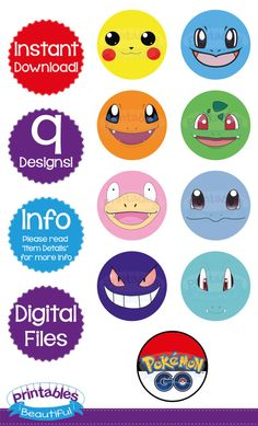 SALE 50% OFF Pokemon Birthday Cupcake por PrintablesBeautiful