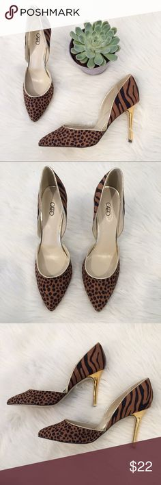 "Cato Leopard and Gold Pointy Toe Heels Gorgeous Cato Pointy Toe Heels. Size 8M. Excellent condition. A few marks on gold Heels but not noticeable. Heel is 3 3/4"". Cato Shoes Heels"