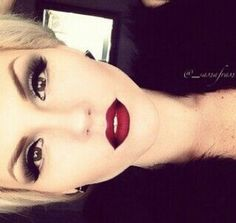 Gorgeous red lips with dark corners