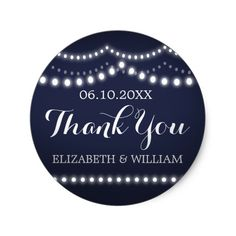 Draped Lights Dark Blue Wedding Thank You Stickers It's time to say THANK YOU with this sweet little sticker design: The art is deft and fun, reminiscent of a summer night. The design features a deep, dark blue background, cursive and classic white text, and strands of pearly white and glowing lights. Customize everything from the color of the background to the color and style of the text. Add your own information, and presto: you're good to go. So get your ducks in a row, check thank you…